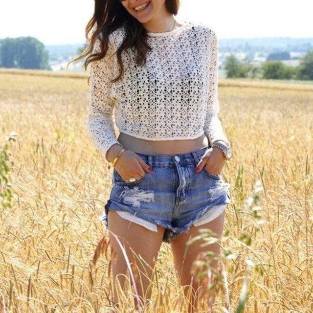 Franja azul do vintage rasgado buraco denim shorts mulheres Casual shorts jeans bolso 2016 garota verão quente curto LZH7