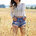 Vintage ripped hole fringe blue denim shorts women Casual pocket jeans shorts 2016 summer girl hot short LZH7