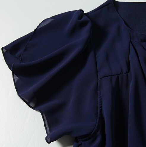 b92fe2db10e ... Queechalle темно шифоновое платье Лето 2018 О образным вырезом  свободный рукав-бабочка платья для женщин