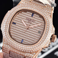 Luxury Brand New Automatic Mechanical Men Watch Sapphire Full Iced Diamonds Transparent Silver Rose Gold Watches Limited Sport