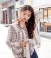 2016 autumn fashion elegant blouses women's print flower flare sleeve sweet shirts cotton loose shirts printing casual blouse