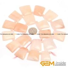"""18x25mm Forma Trapezoidal Rosa Aventurina Jade Strand Bolas de Piedra Natural DIY Para La Joyería Que Hace 15 """"el envío Libre"""