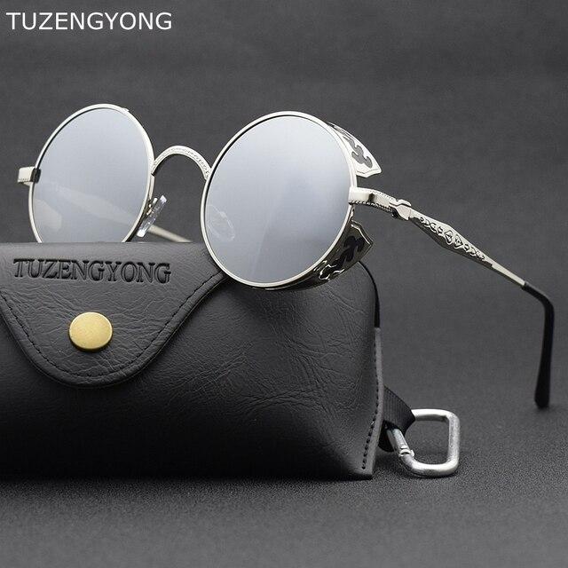 85955656a TUZENGYONG Fashion HD Polarized Steampunk Sunglasses Men/Women Round Metal  Carving Vintage Sun Glasses Gothic UV400 Sunglass