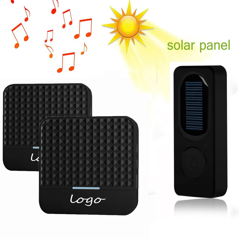 1pcs Of Outdoor Solar Charging Transmitter Plus 2pcs Of Smart Home Wireless 433Mhz Long Range Doorbell With 52Chimes Black Color