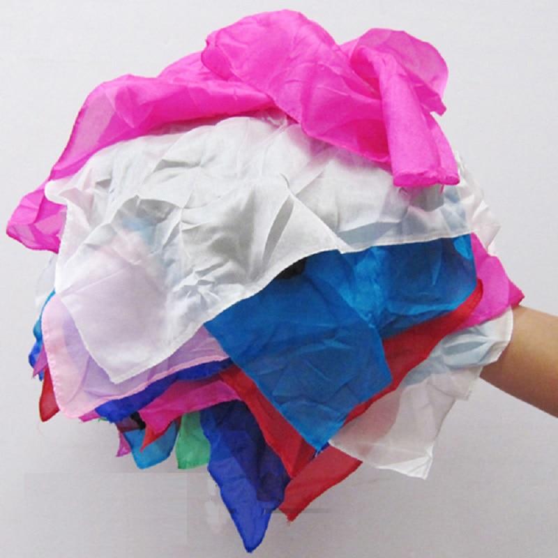 Arc-en-ciel soie Streamer 45*1000 cm Cascade soie Cascade soie fontaine magique Ultra-mince soie foulard accessoires magiques Magia tours