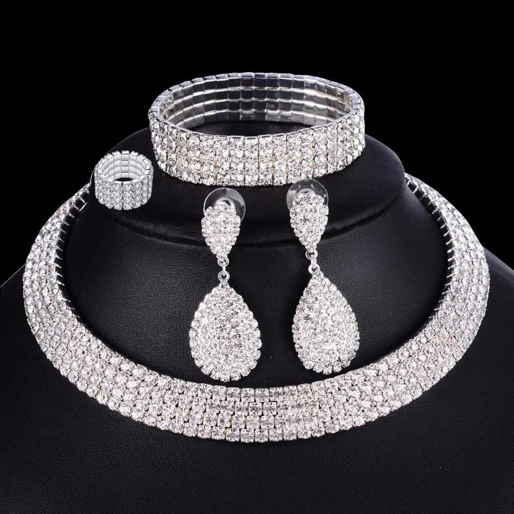 e2b56e77078d 4 piezas de lujo Boda nupcial conjuntos de joyas para novias mujeres collar  pulsera anillo pendiente