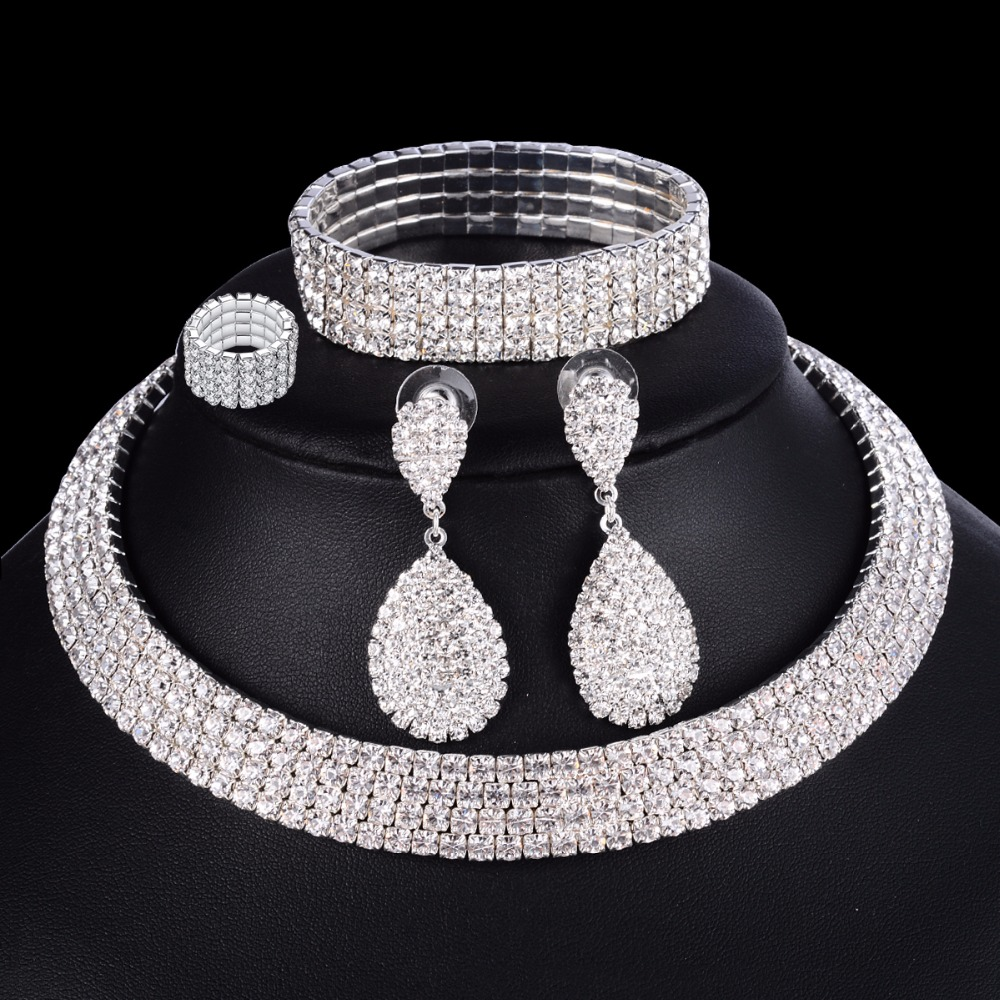4 PCS Luxury Wedding Bridal Jewelry Sets for Brides Women <font><b>Necklace</b></font> <font><b>Bracelet</b></font> <font><b>Ring</b></font> <font><b>Earring</b></font> Set Elastic Rope Silver Crystal Jewelry image