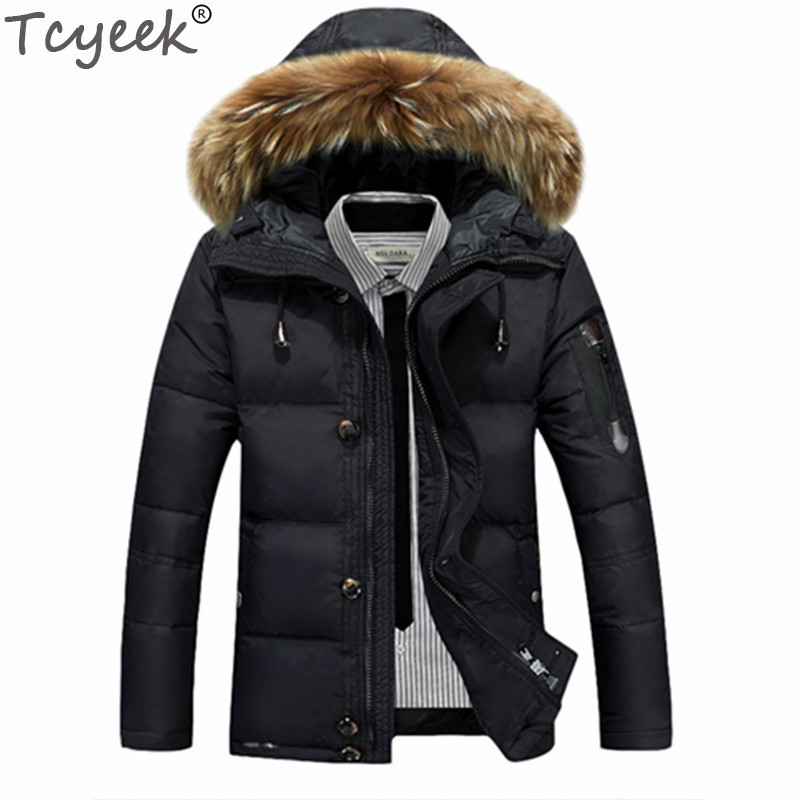 Tcyeek 2019 Thick Warm Winter Jacket Men Casual White Duck Down Jackets Coats Raccoon Fur Hooded  Black Parka Pluma Hombre CJ286