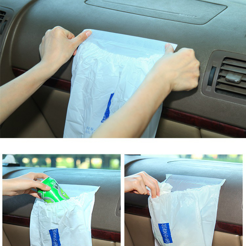 15pcs Creative Strong Stickers Car Trash Bag Rubbish Can Kitchen Storage Bag Organizer Car Back Seat Plastic Bags