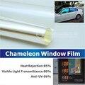 50 x 300 cm ventanilla del coche camaleón tinte tinte película de vidrio VLT 75% púrpura a azul Solar protección UV verano Prevent ultravioleta