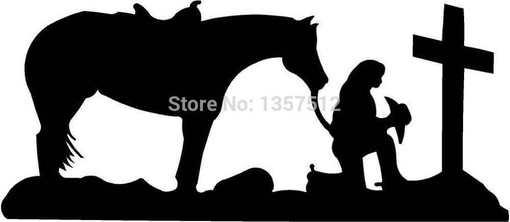 حار بيع راعية الصلاة الصليب الحصان صل المسيحية مقطورة نافذة الباب الفينيل صائق ملصقا سيارة 8 ألوان
