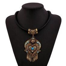 2017 new fashion bohemian necklace pendant flowers power long tassel collar big gem vintage ethnic choker maxi necklace women
