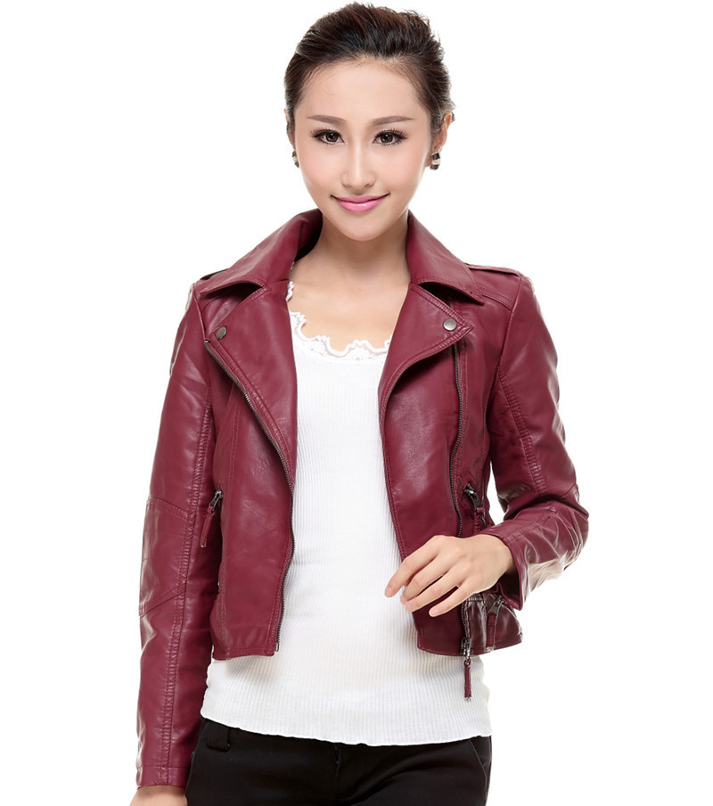 1435d38c17 women Leather jacket 2014 autumn slim leather coat PU motorcycle jacket  ladies black wine red leather jacket coat Free shipping