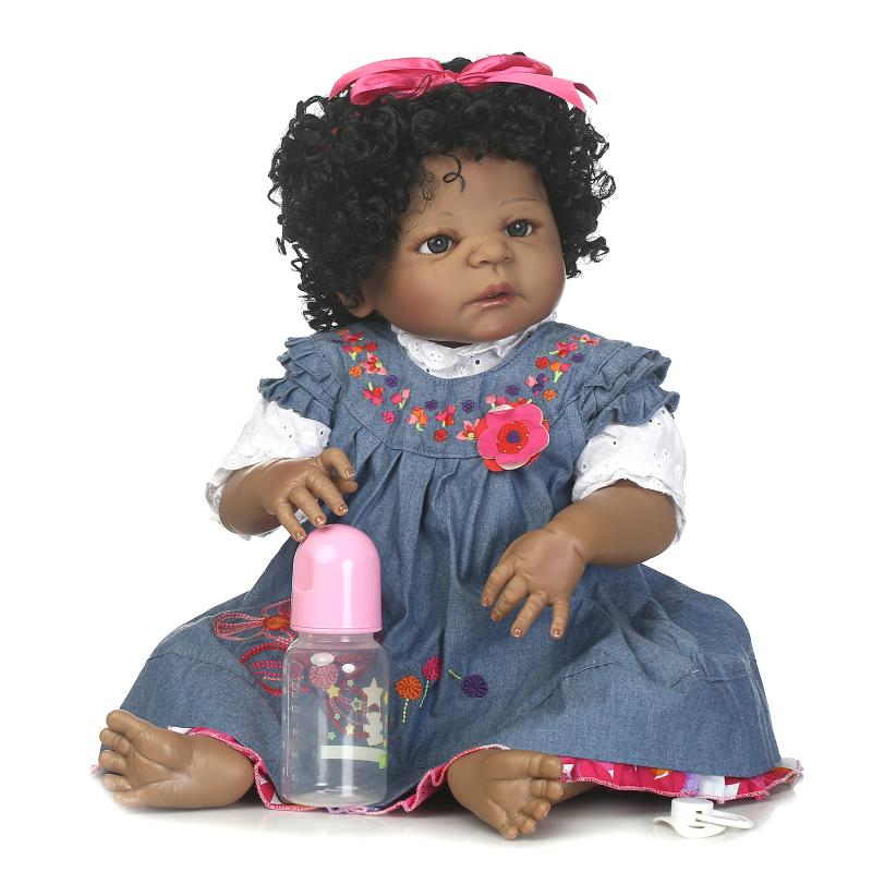 NPK Bebe Reborn Doll 22 Inch simulation Full Body Silicone Baby alive Girl boneca Magnetic Pacifier Dolls toddler toys Kids Gift npk black skin full silicone girl pacifier model baby dolls 56cm lifelike reborn baby boneca can enter water bath doll toys