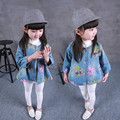 2016 New Spring Cute Baby Girl Denim jacket Flower Print Single Breasted Full Sleeve Fashion Outwear&Coat Kids Jean Coat For 2-8