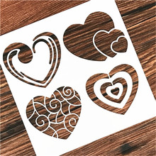 DIY Painting 13*13cm DIY Craft Heart Design Stencil Template For Wall Painting Scrapbooking Stamping Album Decor Embossing Card 15 15cm diy craft art stencil template for wall tile painting scrapbooking stamping album decor embossing card