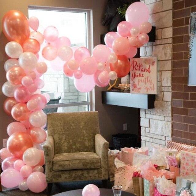 Balloon Arch Garland Kit Rose Gold Pink Decorating Strip Wedding Baby Shower Birthday Anniversary Bachelorette Party Decor