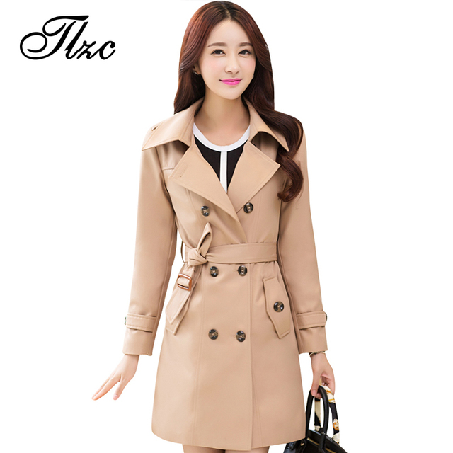 TLZC Turn-down Collar Lady Fashion Solid Trench Plus Size M-4XL Korean Style Double Breasted Epaulet Design Woman Long Clothing
