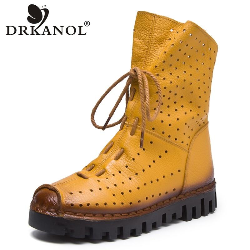 DRKANOL Vintage Genuine Leather Women Boots Breathable Flat Martin Boots Summer Flats Cool Boots Women Platform