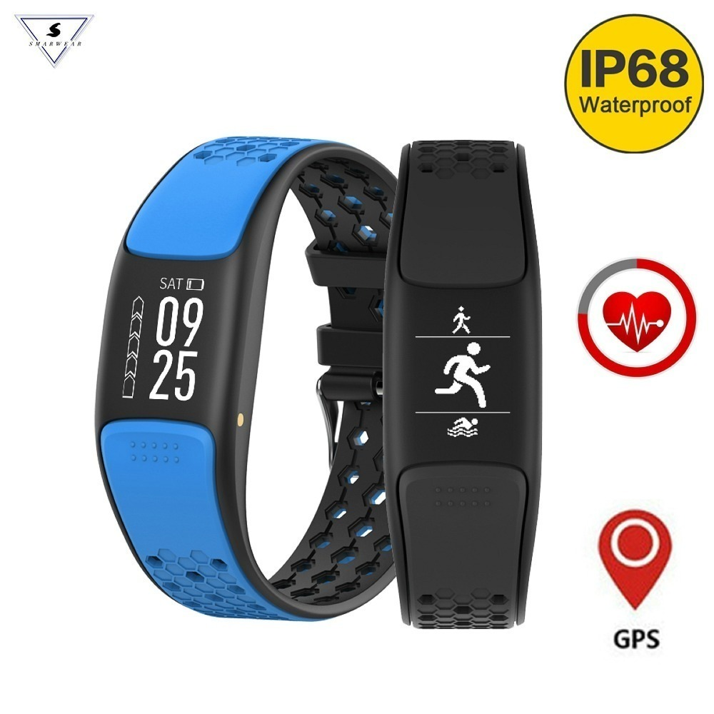 Умный браслет Спорт Фитнес браслет IP68 Водонепроницаемый для плавания gps трекер сердечного ритма мониторинга Smartband