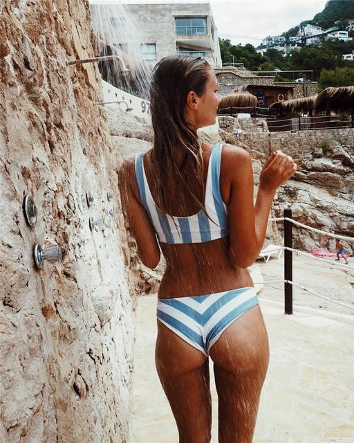 New Women Striped Bikini Set Women Swimwear
