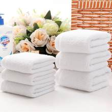 10pcs/lot Good Quality White Cheap Face Towel Small Hand Towels Kitchen Towel Hotel Restaurant Kindergarten Cotton Towel(China)