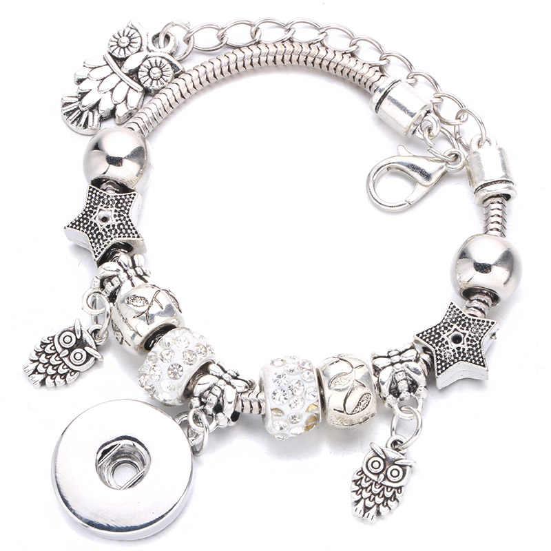 Новый темперамент DIY браслет с застежкой подвеска Хрустальная цепь можно установить с кнопки 18 мм для женских аксессуаров оптом A46-1