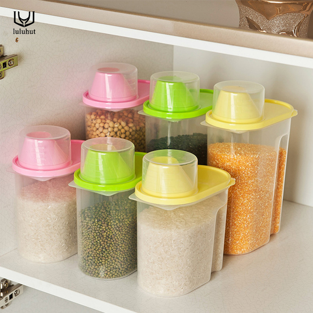 Luluhut Kitchen Storage Box Plastic Food Storage Grain Save Cans Kitchen  Accessories Sealed Organizer Tools Confectionery