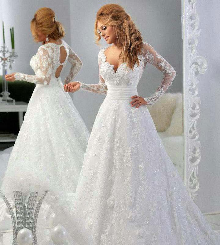 2017 New Long Sleeve Lace Wedding Dress Ball Gown Sweetheart Backless Bridal Dresses vestido de casamento robe de mariage