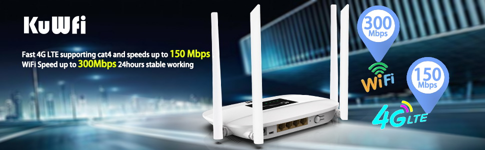 300Mbps Unlocked 4G LTE Wifi Router, Indoor 4G Wireless CPE Router with 4Pcs Antennas and LAN Port&SIM Card Slot Up to 32users 4G Wifi CPE Router (8)