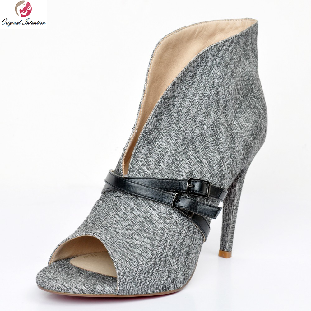 Original Intention Super Gorgeous Women Pumps Elegant Peep Toe Thin Heels Pumps High-quality Grey Shoes Woman Plus US Size 4-15 original intention super high quality