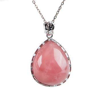 Genuine Madagascar Natural Pink Quartz Crystal Water Drop Bead Women Lady Fashion Necklace Crystal Pendant 34*25*12mm
