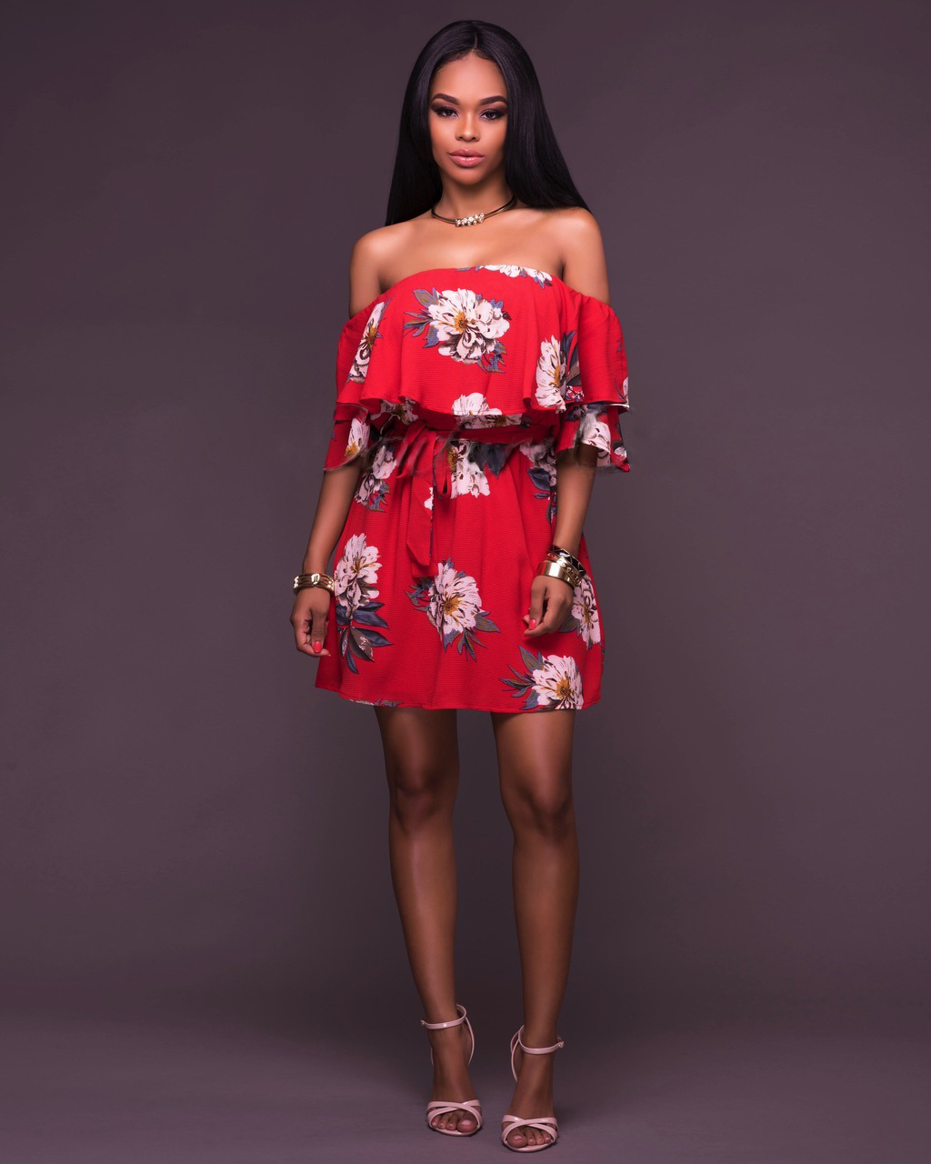 1b9bc8bf998e Summer Red Floral Dress Ruffle Neck Off Shoulder Short Sleeve Mini Dress  Loose Beach Dress With Belt Sexy Ladies Clothing-in Dresses from Women's  Clothing ...