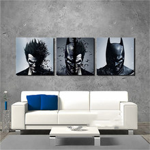 Wall Cuadros Decoration Art Painting Living Room 3 Pieces/Pcs Joker Batman Poster Canvas Frames Print HD Modular Printed Picture(China)