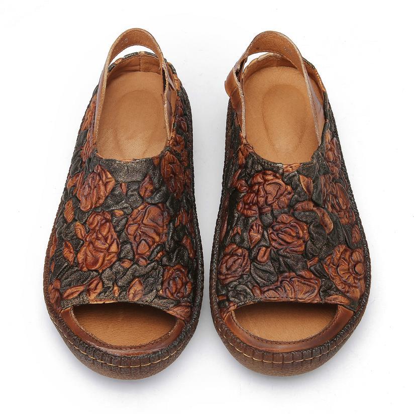 Mujer Calzado De Planas Zapatos Coffee Flores Mujeres Retro Cuero Verano Sandalias 2018 Genuino Casuales Abierta Punta OqgtR