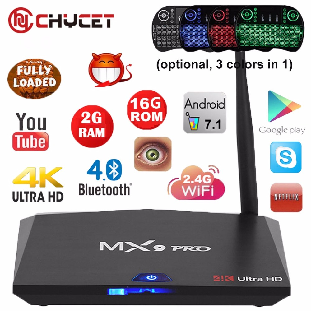MX9 Pro Android 7.1 TV Box RK3328 Quad Core 64Bit 2G 16G H.265 UHD 4K VP9 HDR 3D Mini PC WiFi Bluetooth 4.0 Smart tv box PK X96 2017 newest cs918 4 core smart tv box 2g 16g 1080p wifi mini pc fully loaded for android 4 4