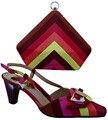 Cor café couro PU mulheres Africanas minha senhora sapatos Italianos e saco de harmonização definir frete grátis por DHL tamanho 38-42 (EUA 7.5-10) 7 cm
