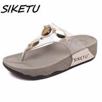 SIKETU New Women Summer Comfortable Breathable Flat With Sandals Shoes Woman Transparent Crystal Party Wedding Flat