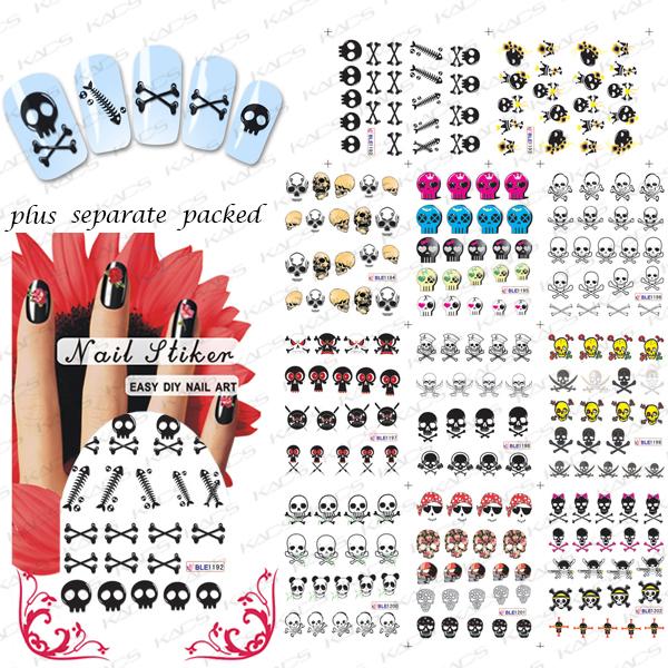 2015 Beautynailart 90 UNIDS/LOTE BLE1192-1202 Esqueleto Envolturas de Uñas de Arte de Uñas Pegatinas de Transferencia de Agua