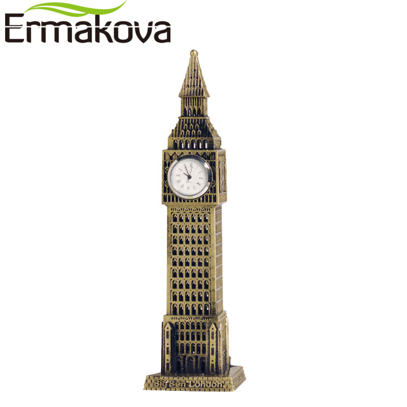 "ERMAKOVA 23.5cm(9.2"")Antique Bronze Big Ben Statue London Landmark Model Metal Figurine World Landmark Architecture Home Decor decorative decorative decorative home decor decoration home - title="