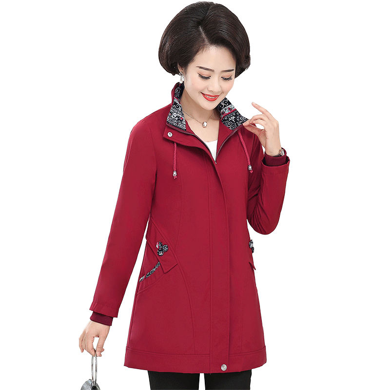 2019 New Casual Plus Size Women's Clothing Middle-aged Spring Autumn   Trench   Coats Woman Long Sleeve Overcoats v531