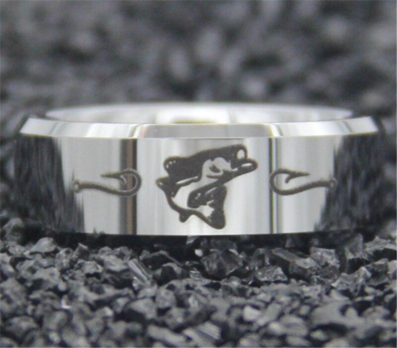 Frete grátis ygk jóias vendas quentes 8mm prata bisel pesca design novo conforto dos homens ajuste tungstênio anel de casamento