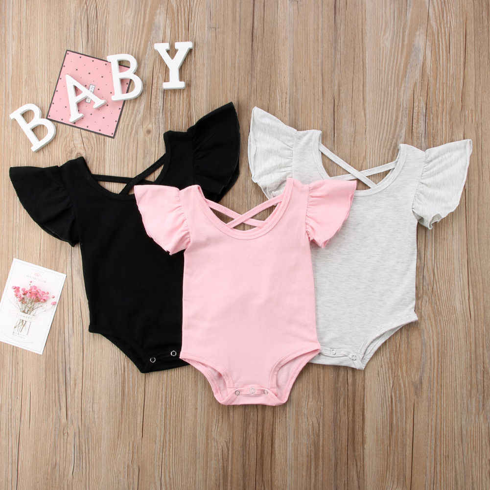 2019 New Newborn Infant Baby Girl Jumpsuit Solid Bodysuit Cotton Casual Outfits Summer Sunsuit Clothing Dropshipping