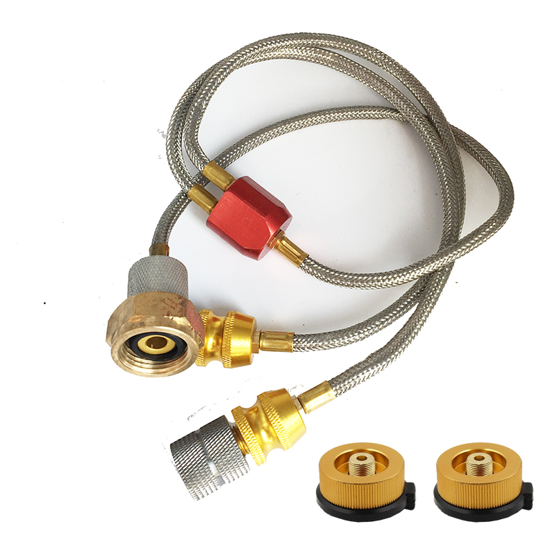 Duplex Stainless Steel Camping Stove Propane Refill Adapter Gas Burner LPG Flat Cylinder Tank Coupler Bottle Adapter Safe Save outdoor camping accessary gas stove propane refill adapter lpg flat cylinder tank coupler bottle adapter