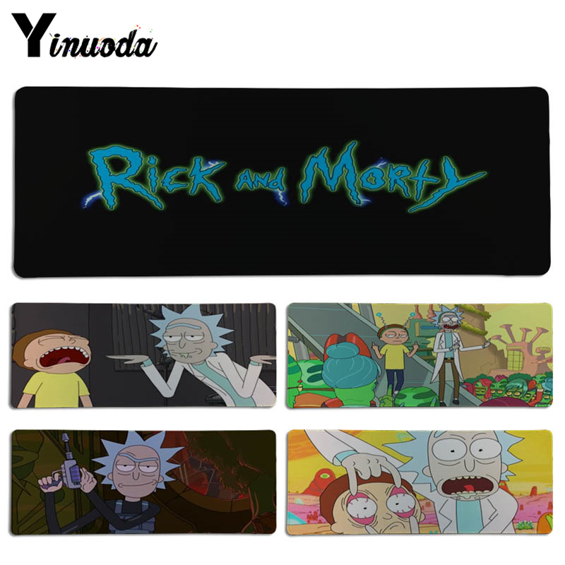 Yinuoda Custom Skin Cartoon Rick and Morty Laptop Gaming Lockedge Mice Mousepad Size for 30x70cm 30x90cm Rectangle Mousemats