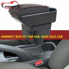 CITYCARAUTO central armrest BIG SPACE+LUXURY+USB armrest Storage box with cup holder LED USB Fit for chevrolet sail 2011-2014