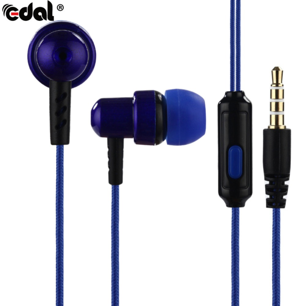 EDAL 3.5mm Woven Fiber Cloth Line Headset In-ear Headphone Super Clear Bass Metal Noise isolating Earbud Earphone For MP3 Xiaomi