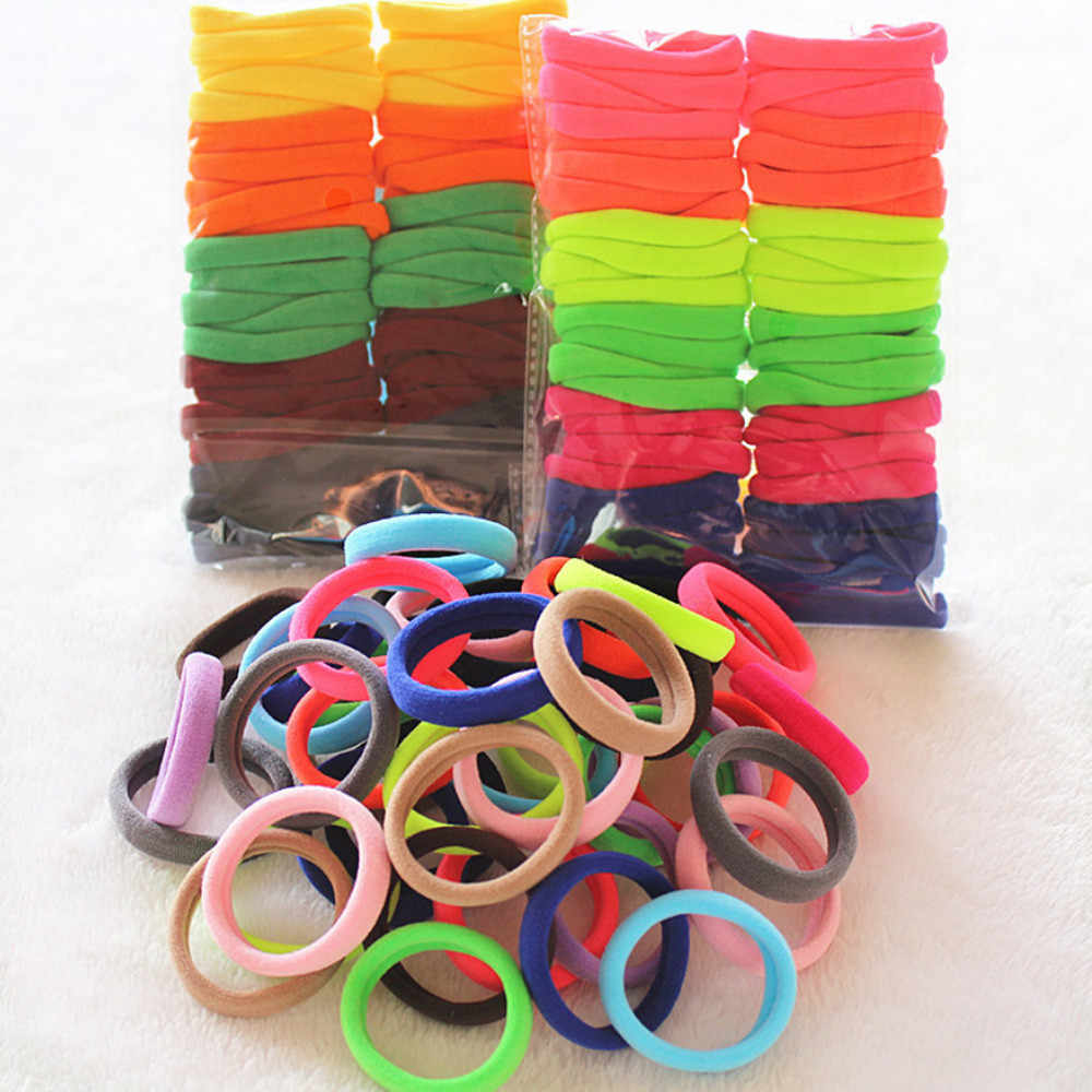 50pcs/set Hair Bands women lady Girls soft Elastic Hair Ties Band Rope candy color Ponytail Bracelet headband #N
