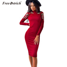 Free Ostrich Dress Women Autumn Long Sleeve 2019 Tight Casual O-neck  Bandage Dresses Sexy 88a824e050c72