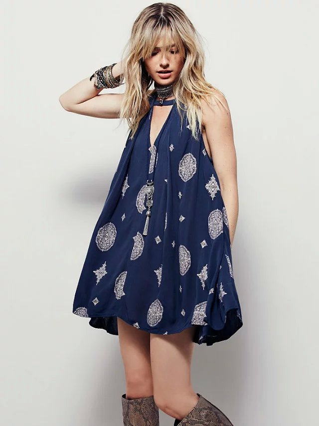 2017 New Fashion Women Desses European and American Printing Sleeveless Collar Hollow Dress AXD9061